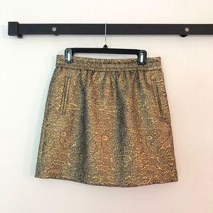 Ann Taylor LOFT metallic gold mini skirt size M